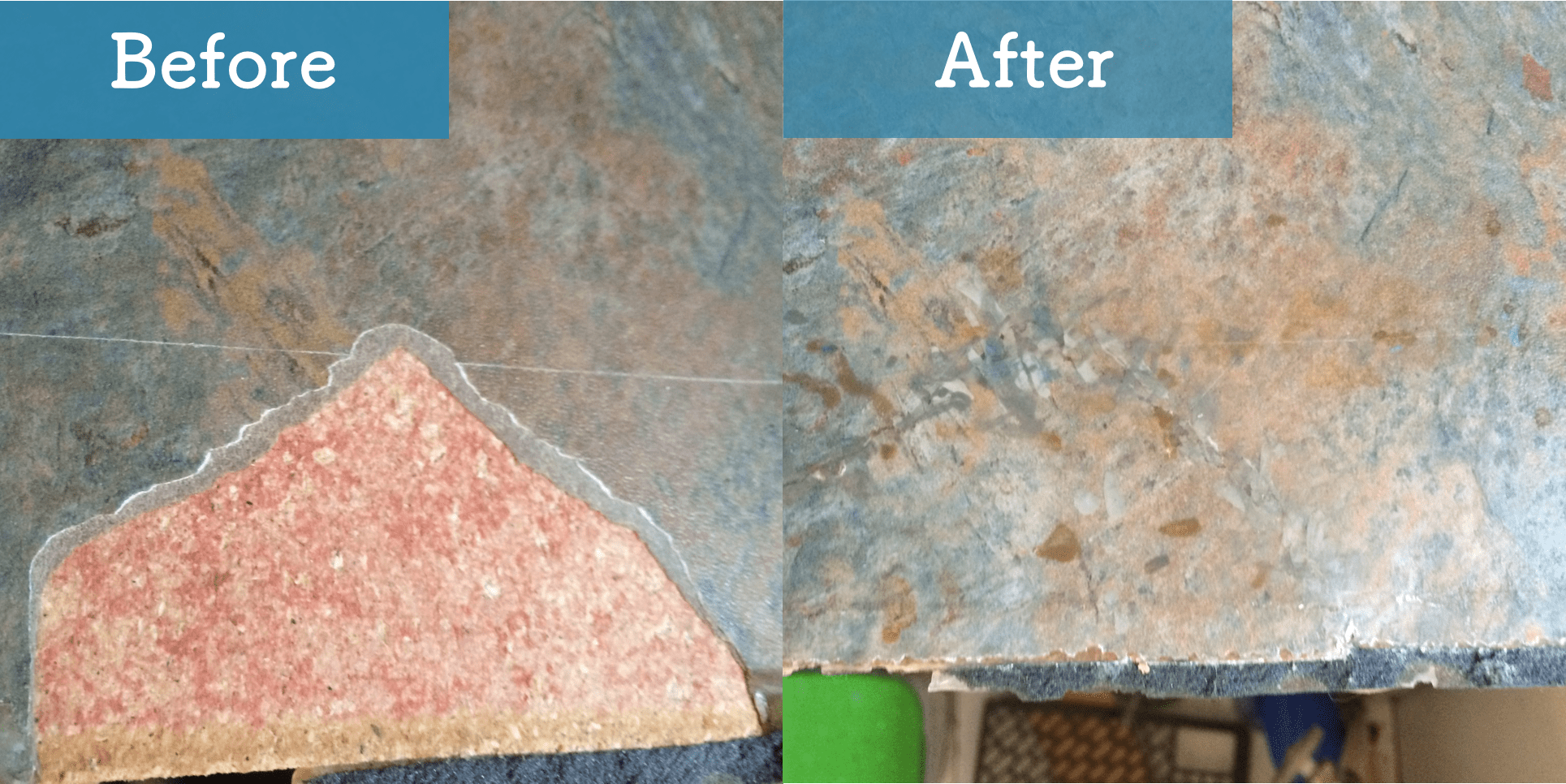 chipped polymer counter before and after image
