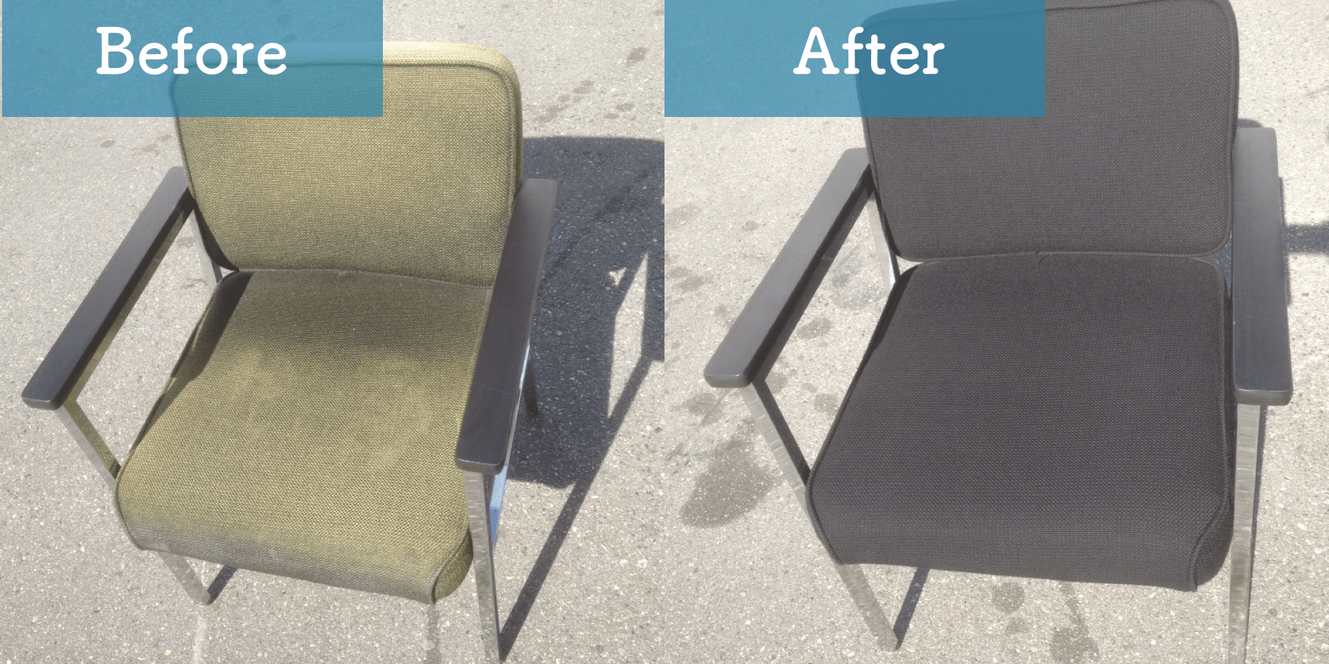 faded fabric chair before and after image