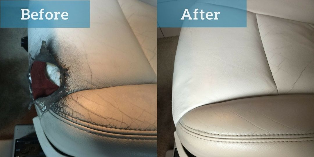 leather car seat before and after image