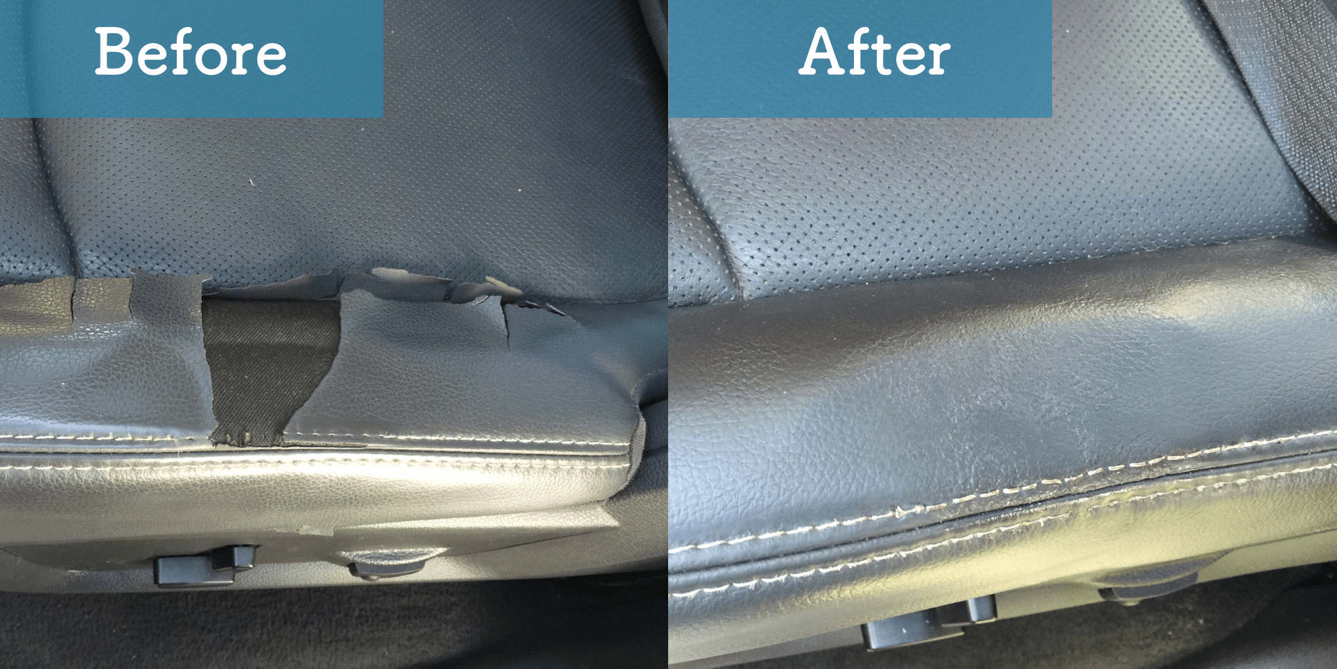 cracked and torn vinyl car seat before and after image