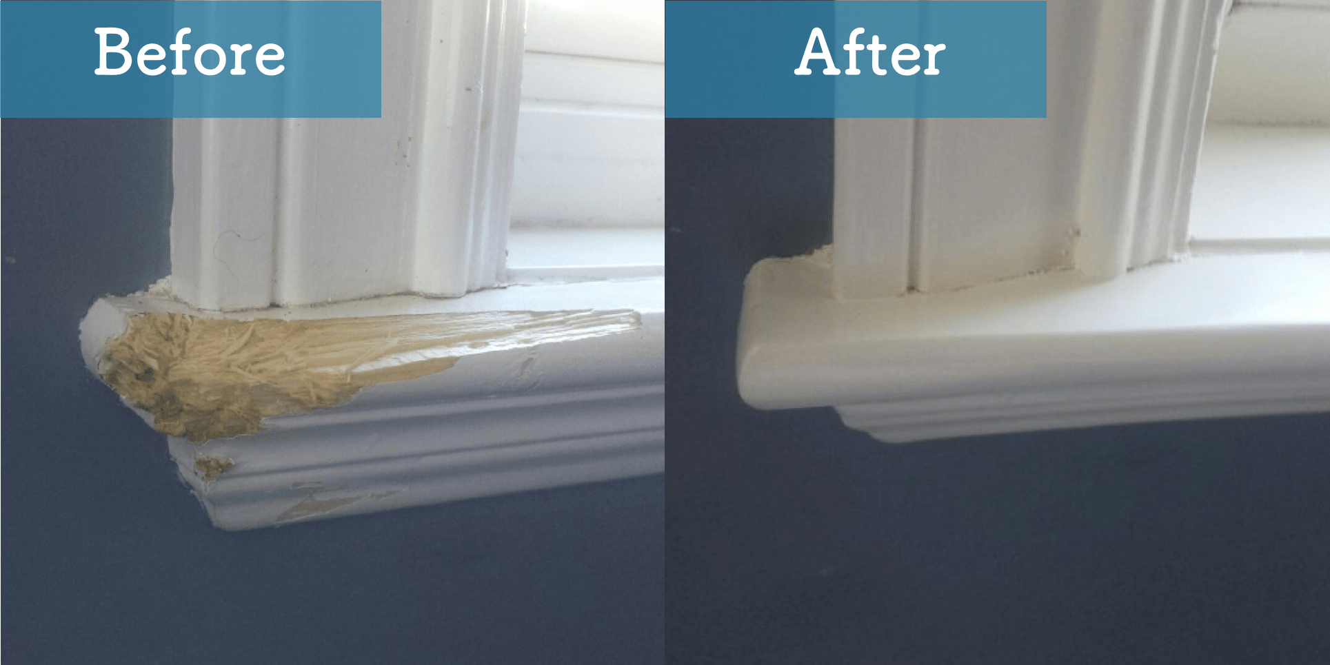 worn wooden window sill before and after image