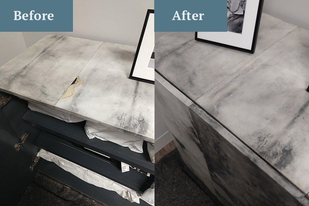 cracked stone counter before and after image